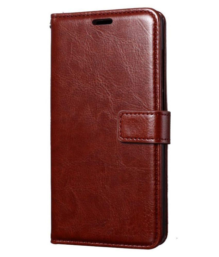 Samsung J7 Prime 2 Flip Cover by ClickAway - Brown Original Vintage Look Leather Wallet Case