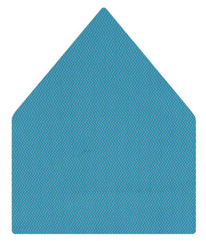Tiekart Blue Self Design Micro Fiber Pocket Square for Men