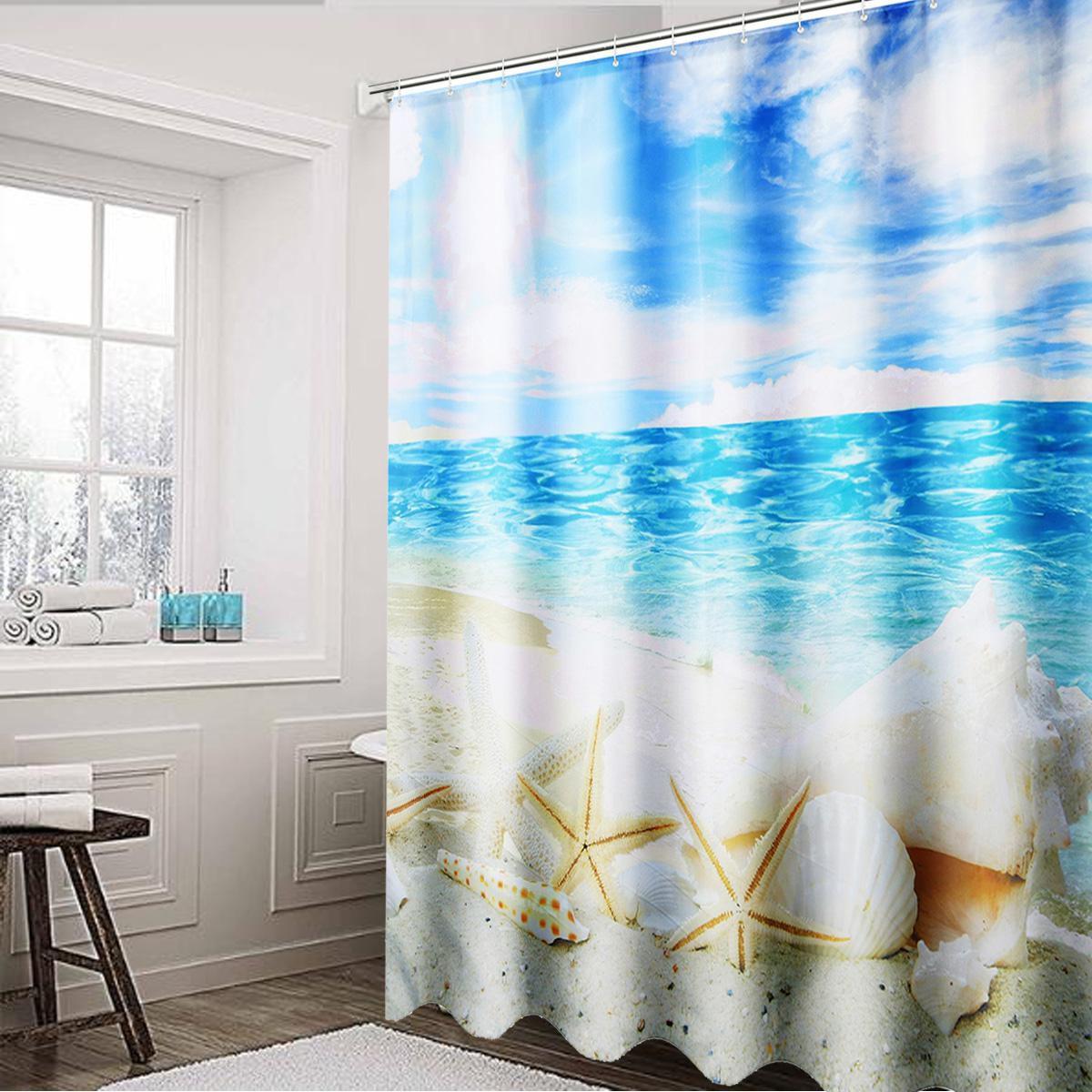 Buy Diy Bathroomwaterproof Shower Curtain 3d 12 Hook Beach