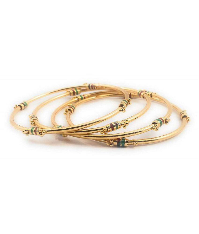 facdb071ae86c AFJ GOLD 1 Gram Micro Gold Plated Traditional Designer Trendy Fashion  Jewellery Daily Wear Plain Bangles Set of 4 Pcs For Women & Girls