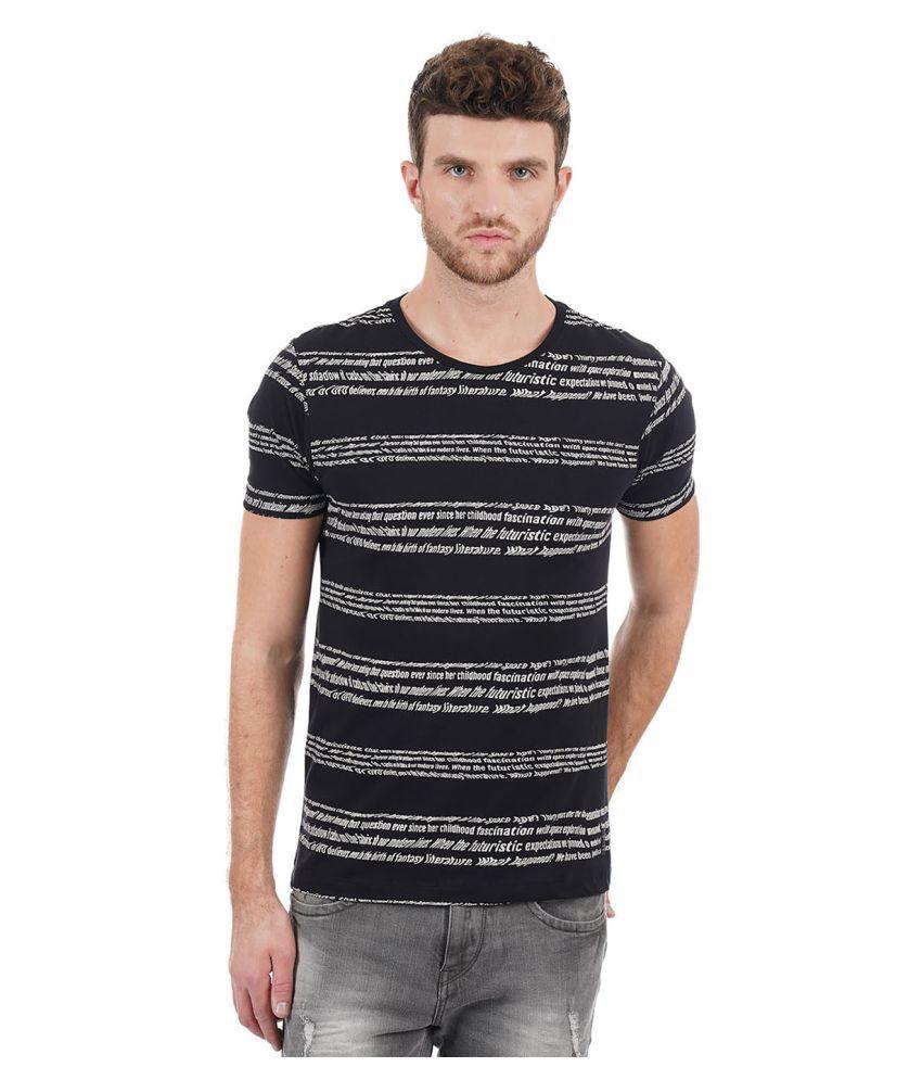 Flying Machine Black Half Sleeve T-Shirt