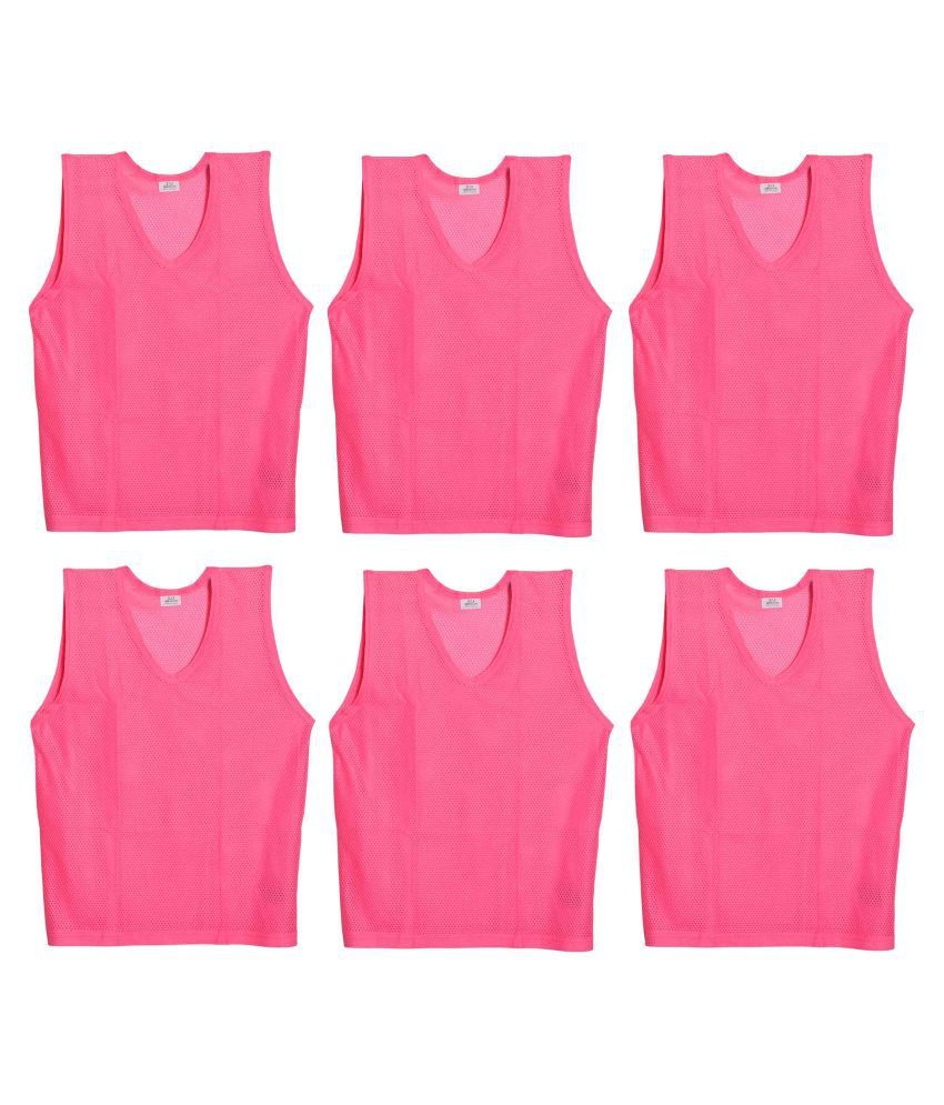SAS Sports Bibs for Match Practice Training in Pink - Pack of 6 Scrimmage Vests, Small size, For Unisex