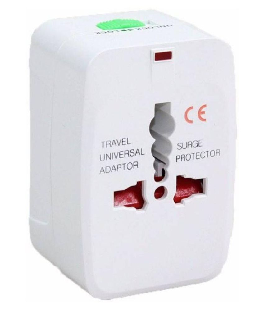 TRP TRADERS Universal World Wide Travel Charger Adapter Plug for Us Uk Eu Au Worldwide Adaptor  White, Red