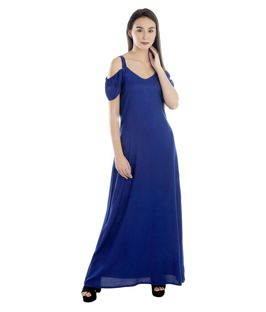 Patrorna Silk Blue Fit And Flare Dress