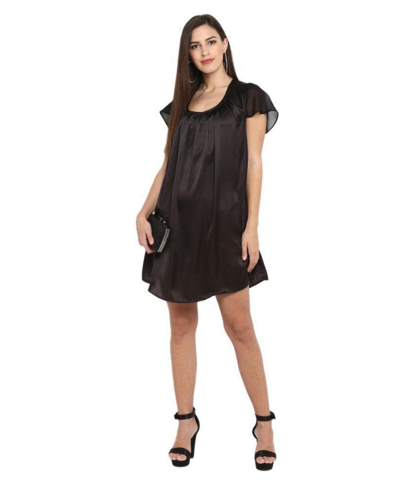 Qurvii Satin Black A- line Dress