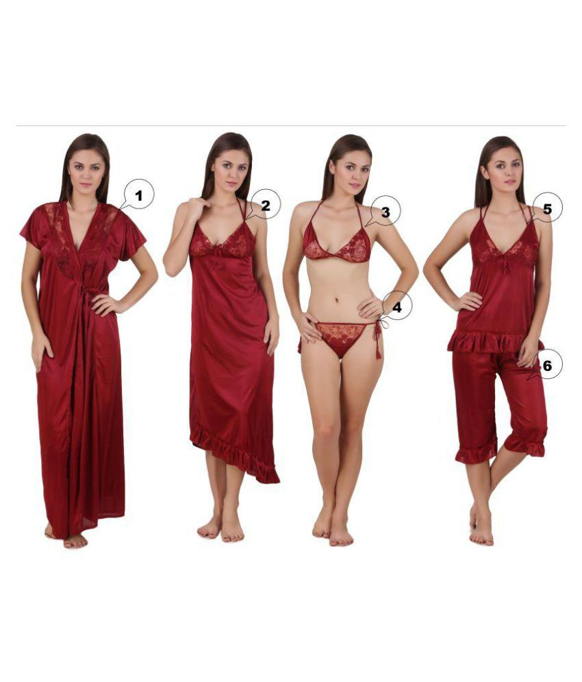 089697474f Buy Freely Satin Nighty   Night Gowns - Maroon Online at Best Prices in  India - Snapdeal