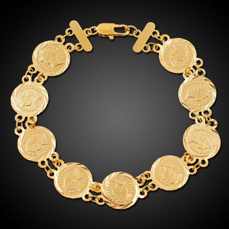 YOLO Fashion Golden 18K Gold Plated Ala Dollar Queen Pattern Bracelet Jewellry Accessories