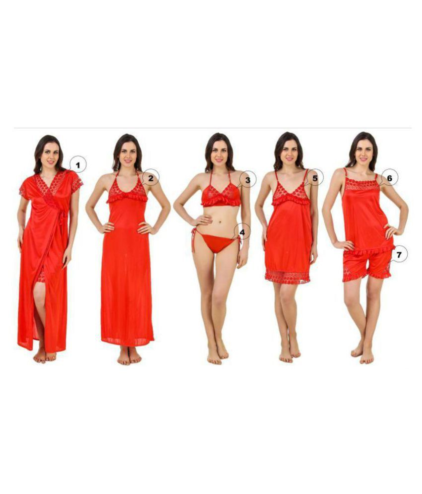 4d83ac719e Buy Freely Satin Nightsuit Sets - Red Online at Best Prices in India -  Snapdeal