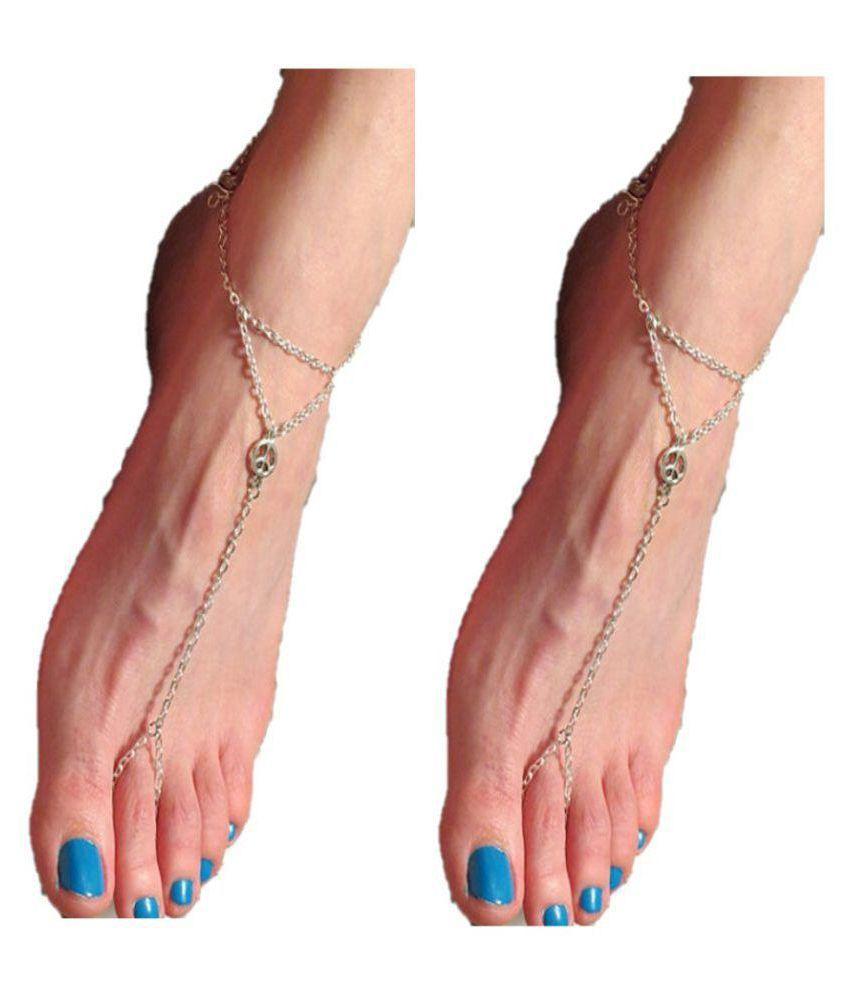 FemNmas Stylish Silver Peace Symbol Toe Ring Anklet For Girls & Women (PAIR)