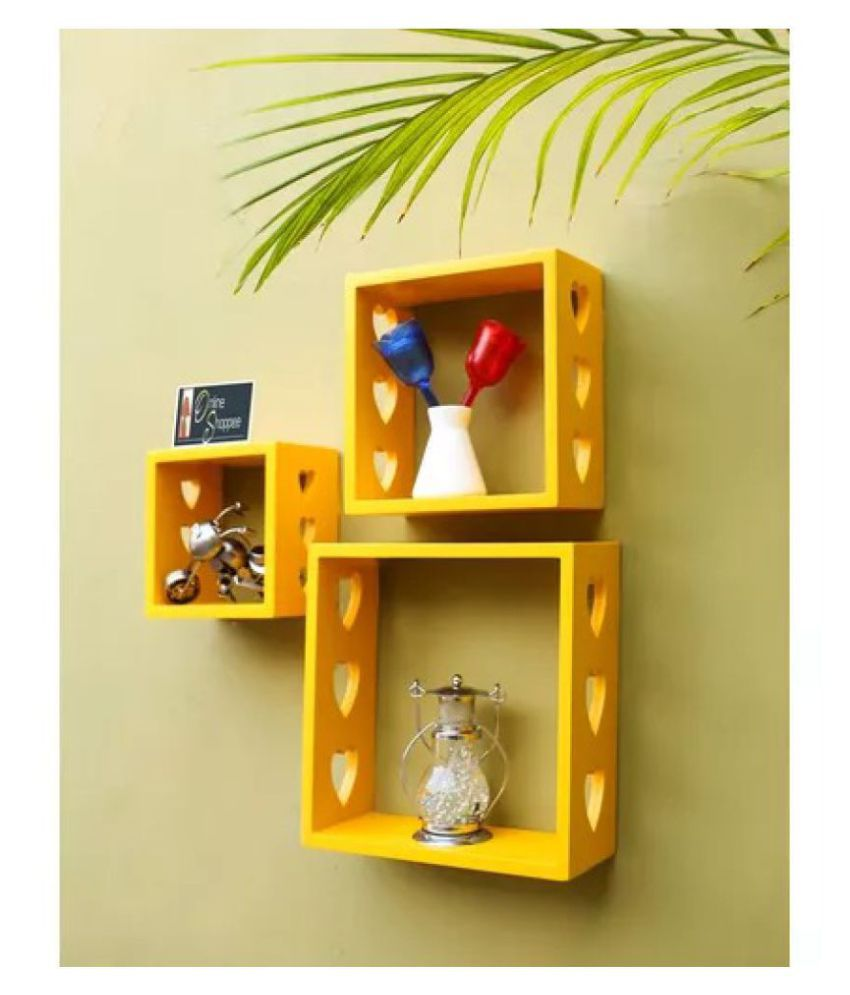 Onlineshoppee Floating Shelves Yellow MDF - Pack of 3