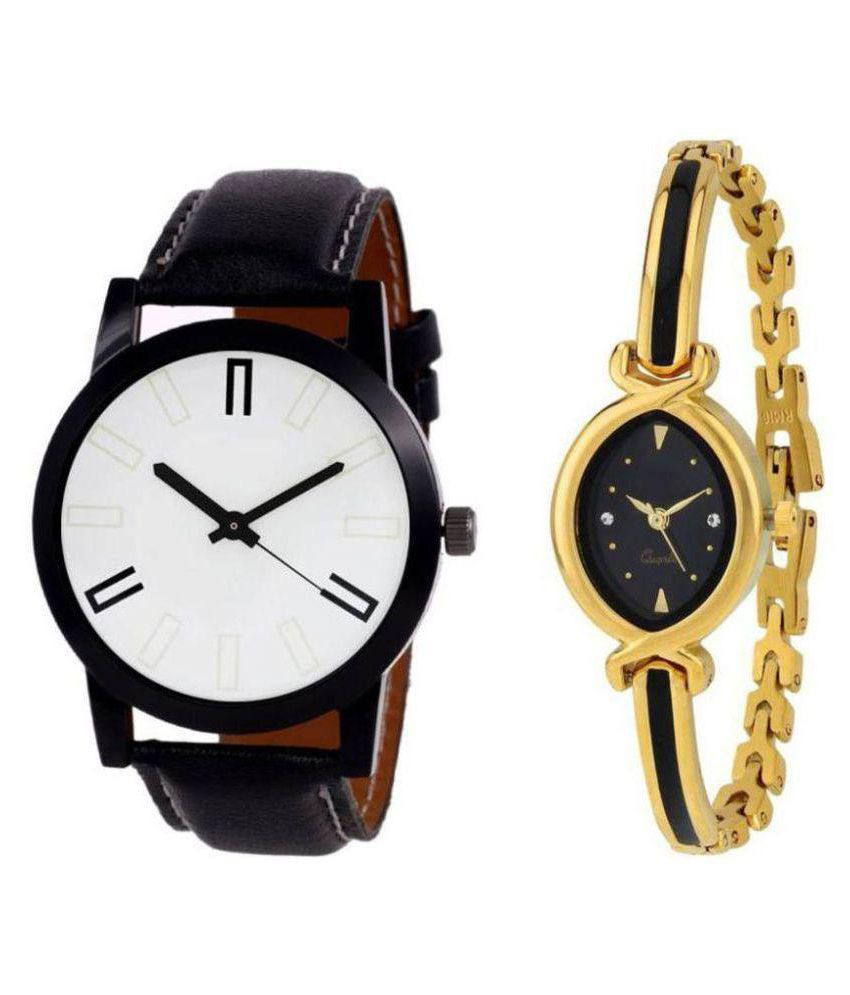 Devani trading Sett Of Two Leather And Metal Strap Couple Combo  Watch - For Men & Women