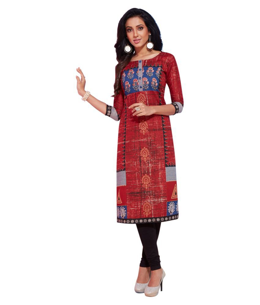 Salwar Studio Red Cotton Straight Kurti