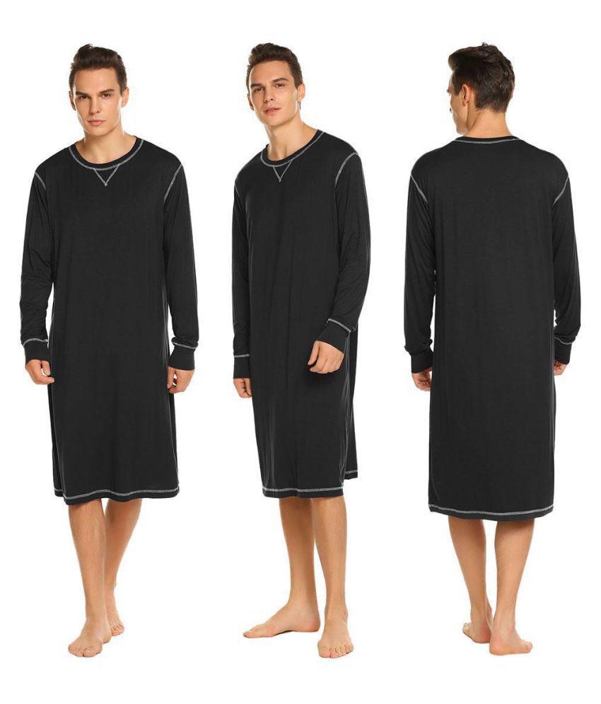 Men Casual Solid O Neck Long Sleeve Sleep Shirt Nightshirt Sleepwear