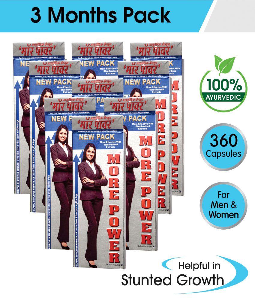 More Power Capsules 3 Months Pack, (9 Boxes, 40Caps) - Ayurvedic Capsules for Men & Women