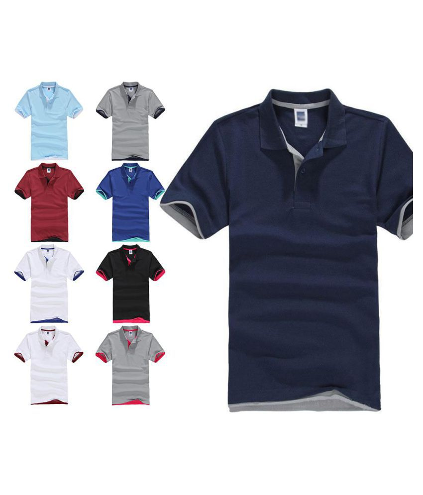 Men's Sports Contrast Trim Short Sleeve Golf Simple Polo Shirt T-Shirt Top