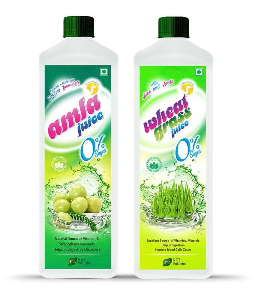 Rangelo Rajasthan Amla Juice & Wheatgrass Juice- Health Drink 1000 ml Pack of 2