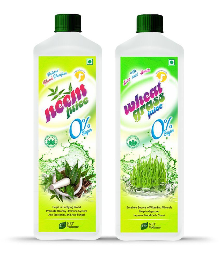 Rangelo Rajasthan Wheatgrass & Neem Juice- Health Drink 1000 ml Pack of 2