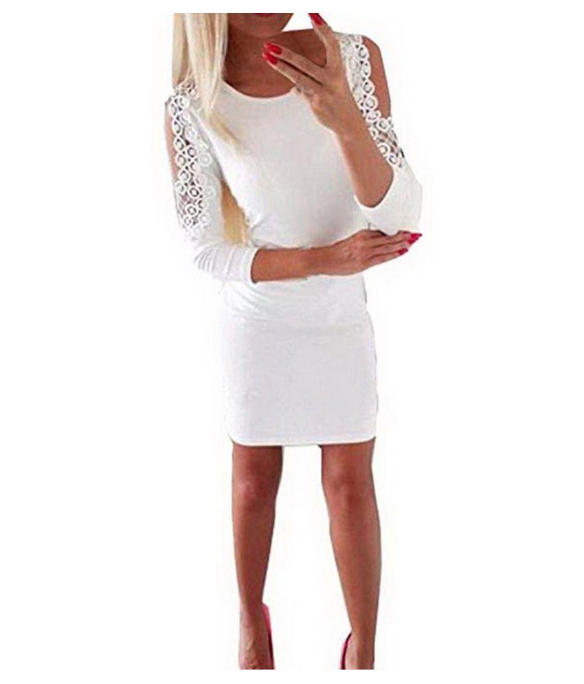 Women Casual Slim Dress Cold Shoulder Lace Bodycon Dress