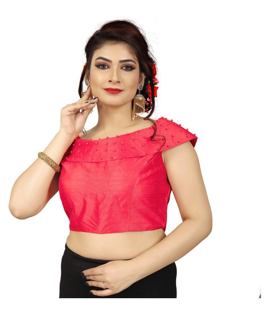 Fab Dadu Pink Silk Readymade with Pad Blouse