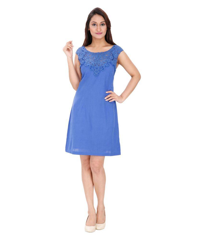 Ritu Designs Linen Blue A- line Dress