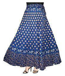 Kismat Collection Cotton A-Line Skirt - Blue