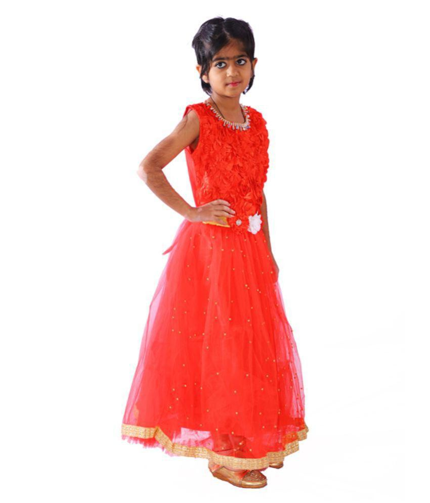 e9eda1b90 ... AZAD DYEING Girls Net Birthday Party Wear Designer Frock Dress for Girls  ...