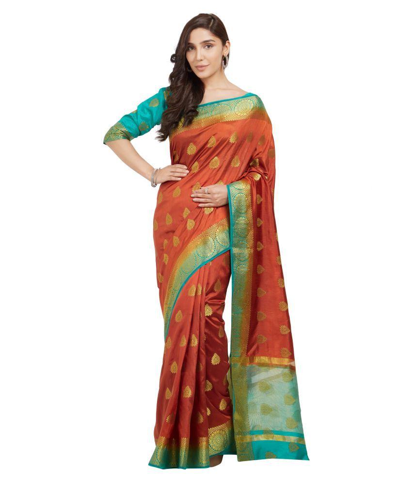Glamrack Orange Silk Saree