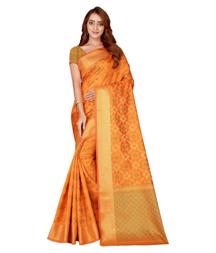 Glamrack Yellow Silk Saree