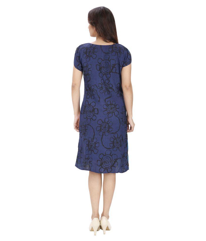 Ritu Designs Cotton Blue A- line Dress