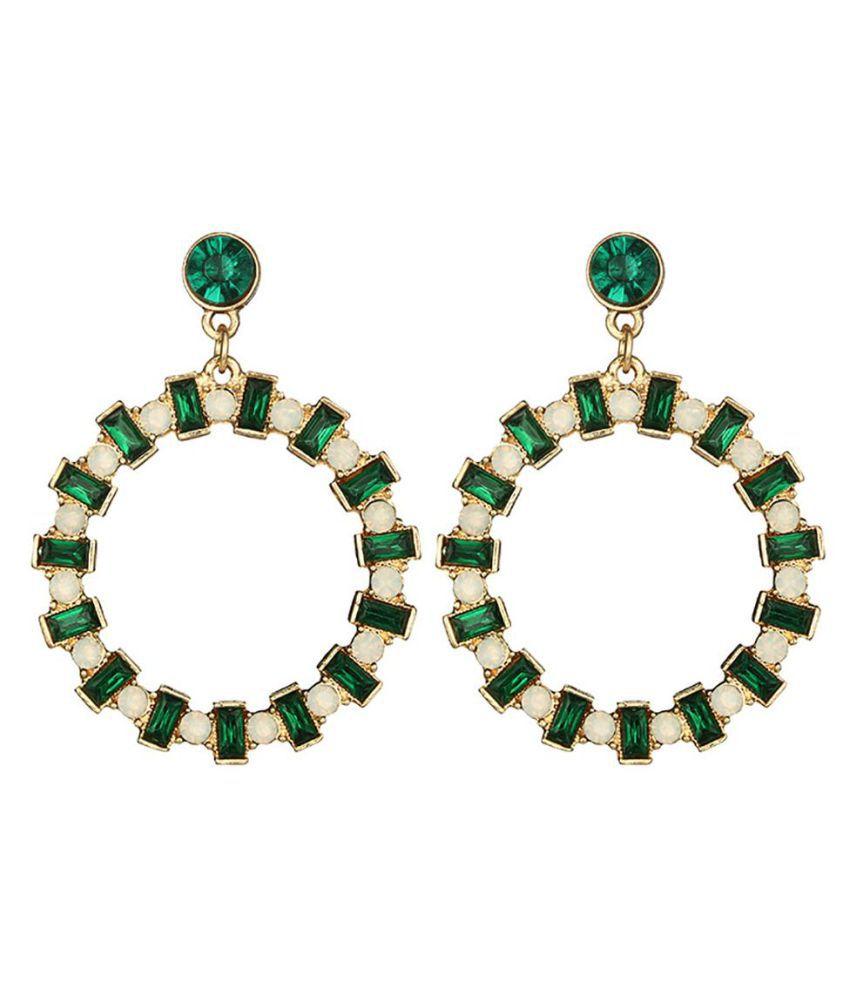 Bohemian Women Circle Rhinestone Faux Crystal Eardrop Banquet Cocktail Earrings