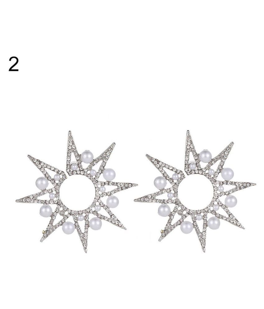 Chic Hollow Eight-pointed Star Earrings Women Sunflower Faux Pearl Ear Studs