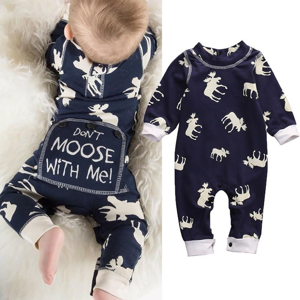 1277f1936e32 Cute Infant Newborn Baby Boy Don t Moose With Me Cotton Romper ...