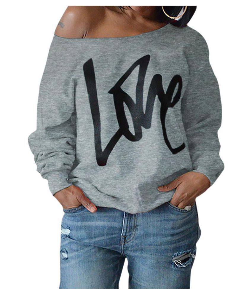6c755ae100c ... Fashion Love Letter Printed Long Sleeve Women Casual Off Shoulder T-shirt  Top