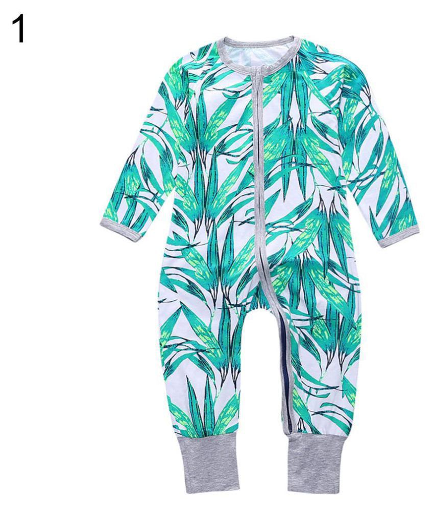 37671727f Newborn Baby Boys Girls Summer Romper Zipper Bamboo Leaf Flower ...