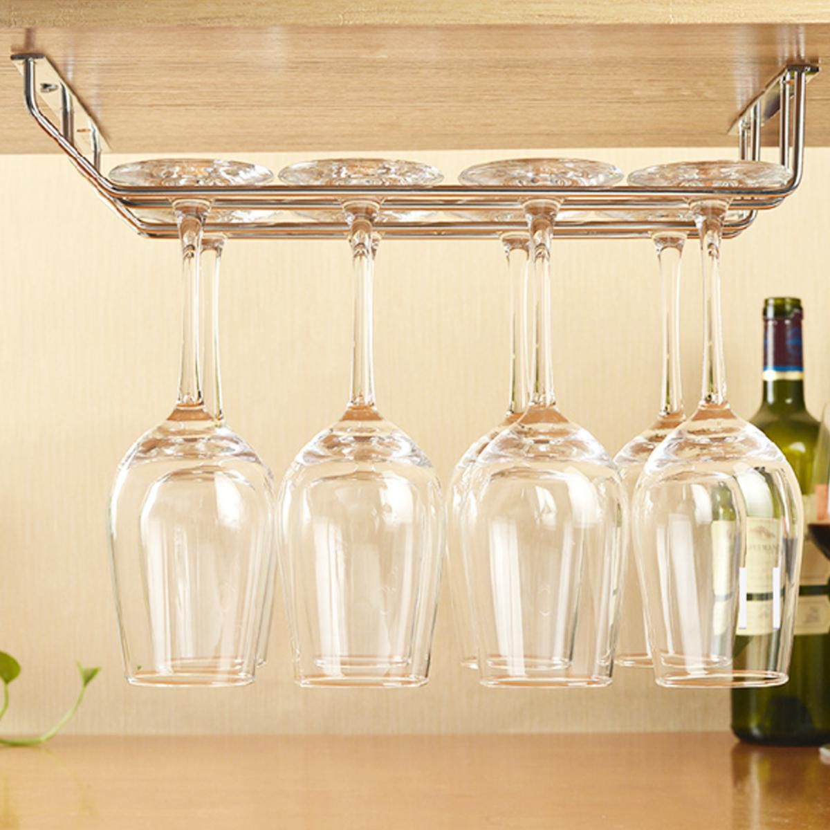 Metal Stainless Steel 2 Rows Stemware Wine Cup Glass Bar Holder Storage Rack Hanger Bar Accessories Home Kitchen Organizer Buy Online At Best Price In India Snapdeal