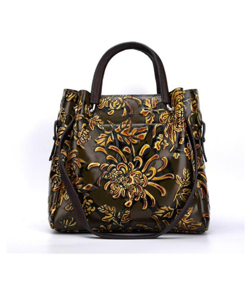 Women Genuine Leather Chinese Style Bags Flowers Printing Handbags Shoulder Bag