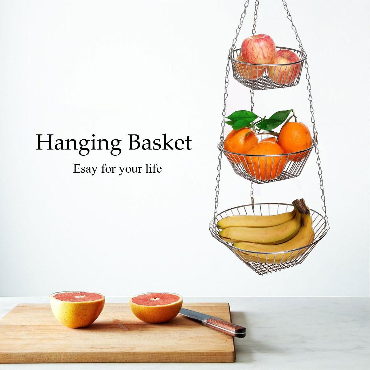 Ykpuii 3 Tier Wire Hanging Basket Fruit Vegetable Organizer Storage Kitchen Counter Set Buy Online At Best Price In India Snapdeal