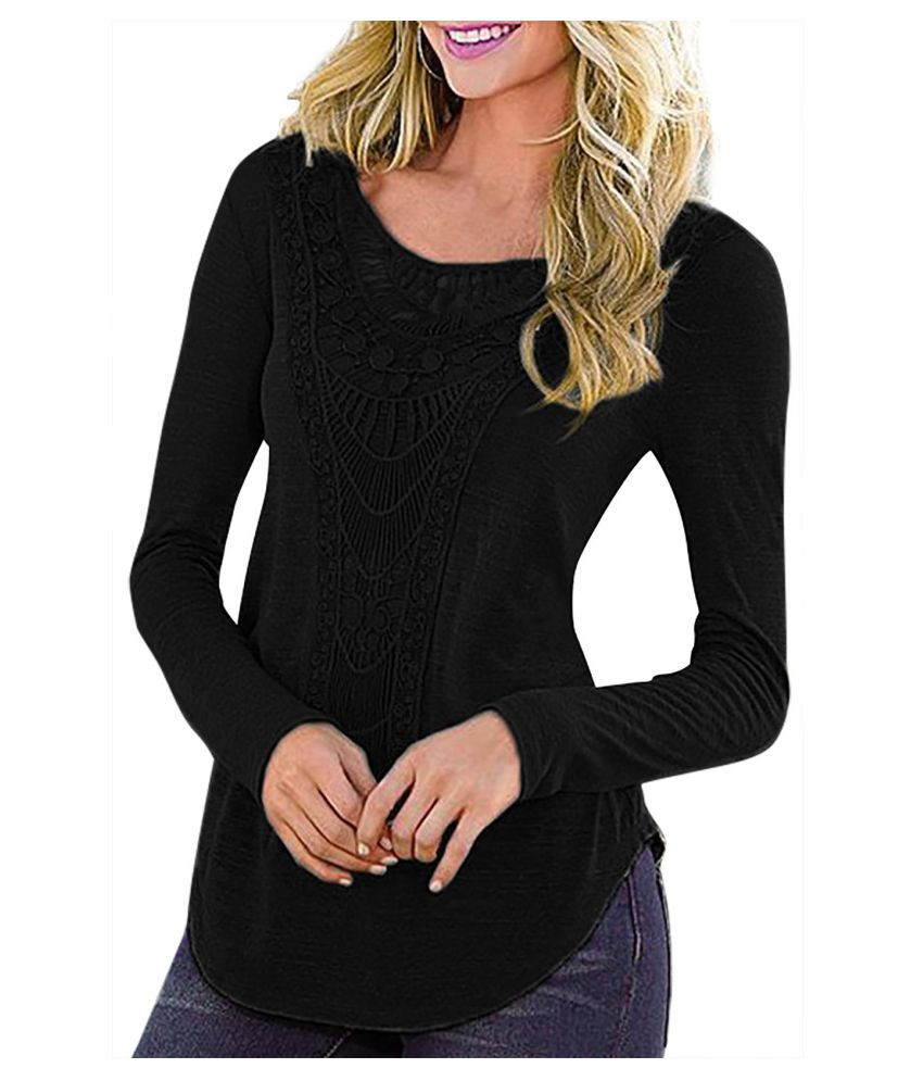 YOINS Black Long Sleeves Crochet Detail Curved Hem Top T-shirt For Women