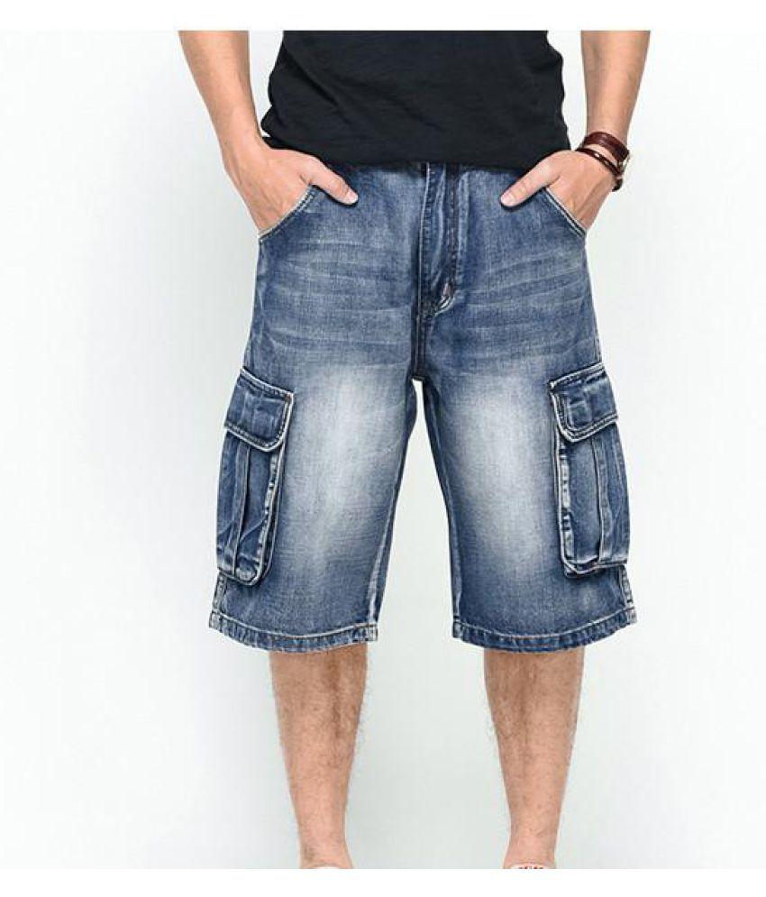 Big Size Summer Big Pockets Loose Fit Overknee Street Skateboard Denims Shorts For Men