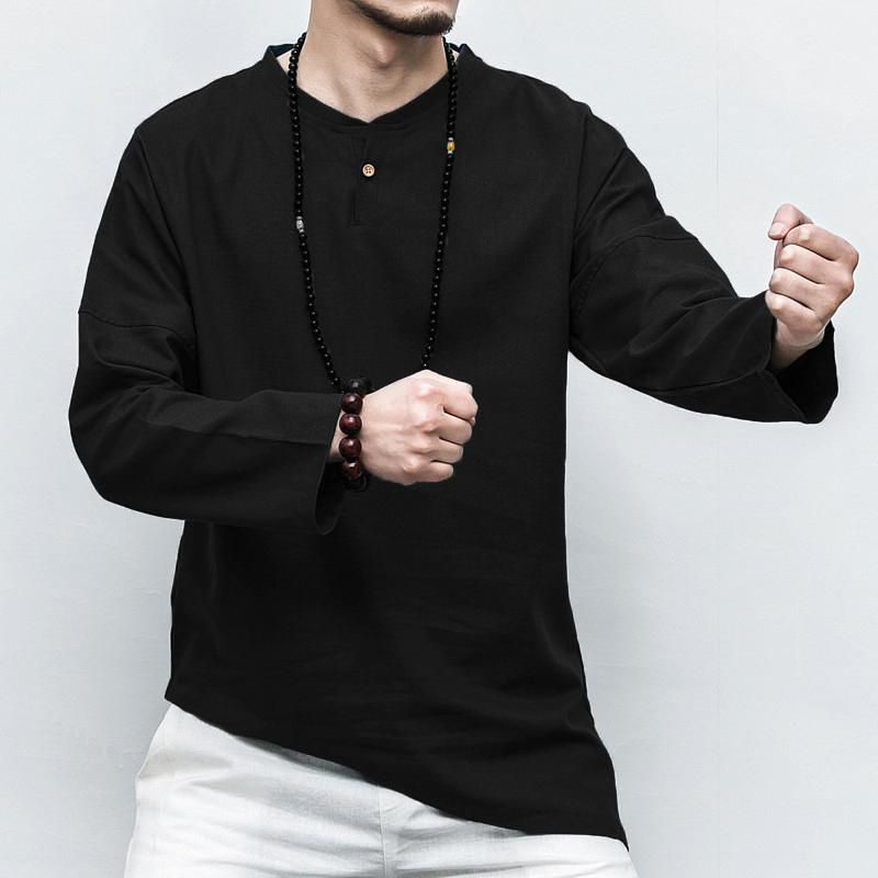 INCERUN 100% Cotton Men Chinese Style Button Casual Long Sleeve Tee Top T-shirts