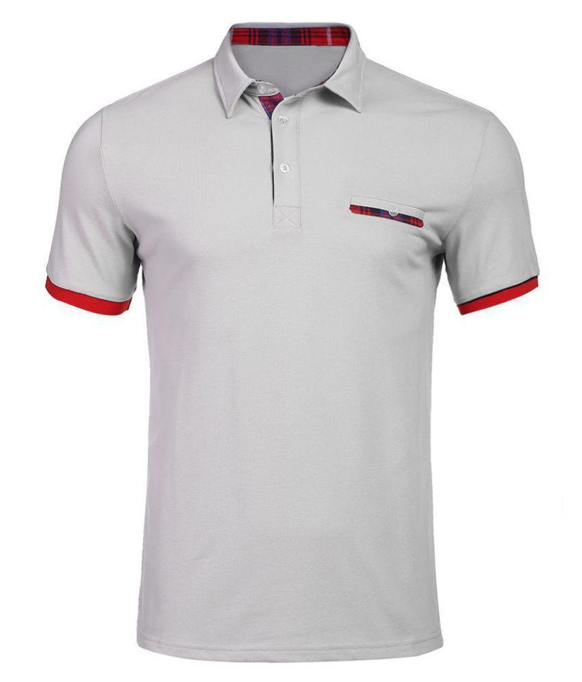 Men Casual Short Sleeve Turn-down Collar Button Polo T-Shirt