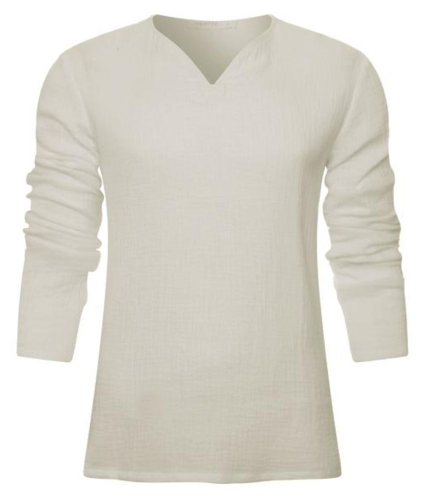 Mens 100%Cotton V-neck Long Sleeve T Shirt Loose Fit Casual Solid Color Tops