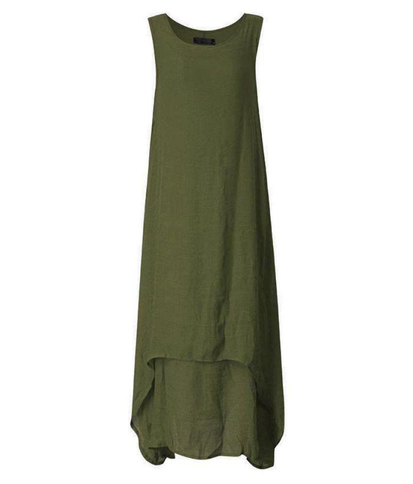 SCHMICKER Women Summer Sleeveless Vestidos Tiered Dress Female Vintage Solid Loose Irregular Flare Hem Patchwork Maxi Long Dress