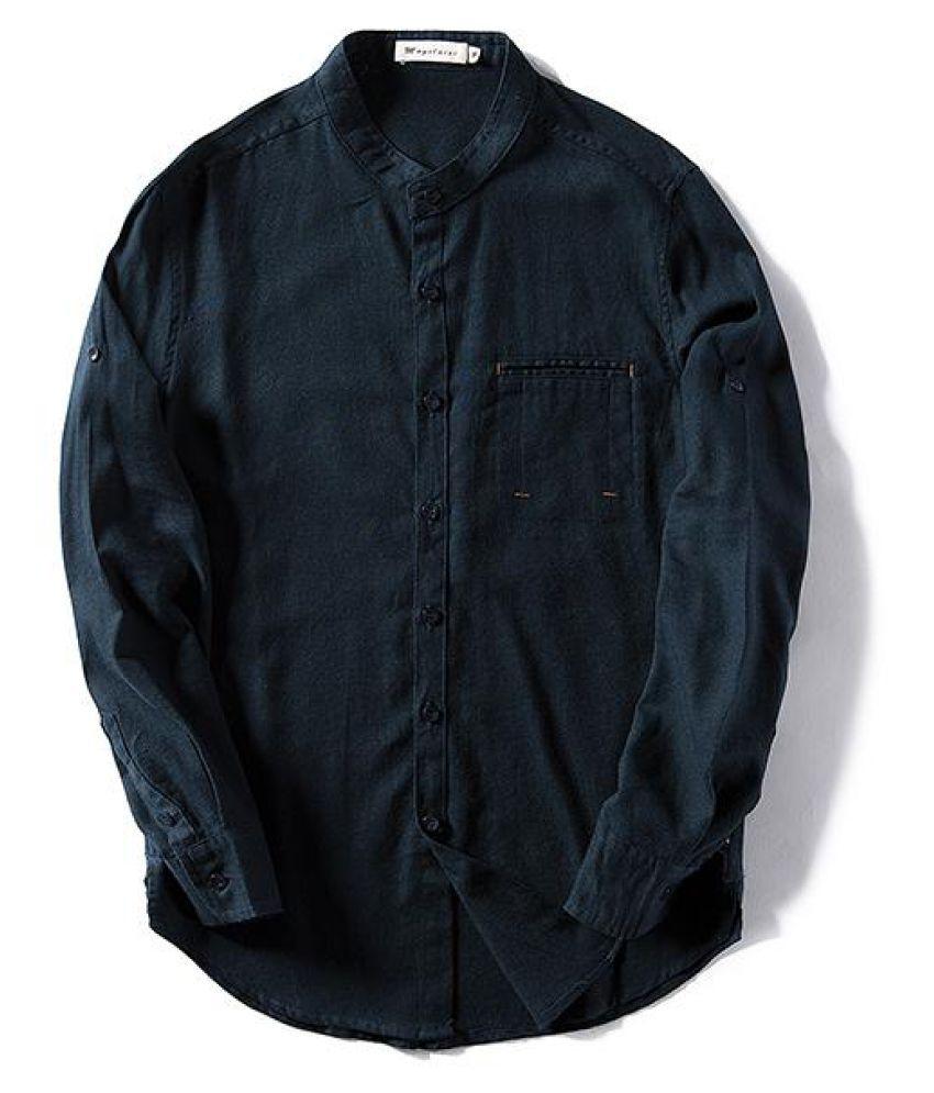 Vintage Casual Fashion Slim Breathable Linen Stand Collar Designer Shirts for Men