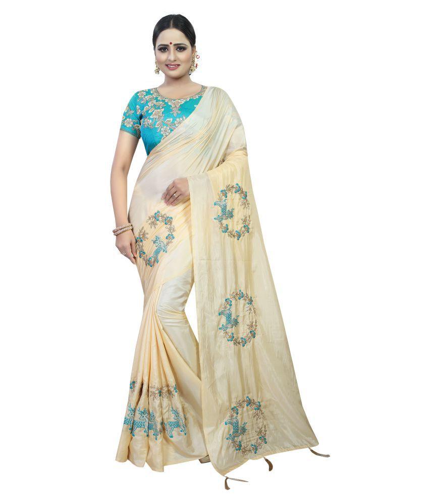 Kalapy Fashion Off White Paper Silk Saree