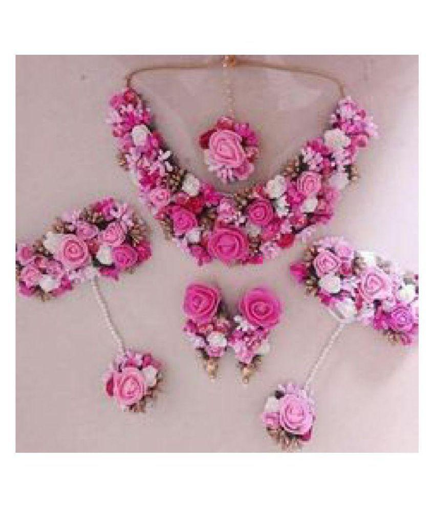 S.K.GEMS Pearls Multi Color Princess Designer None Necklace set Combo
