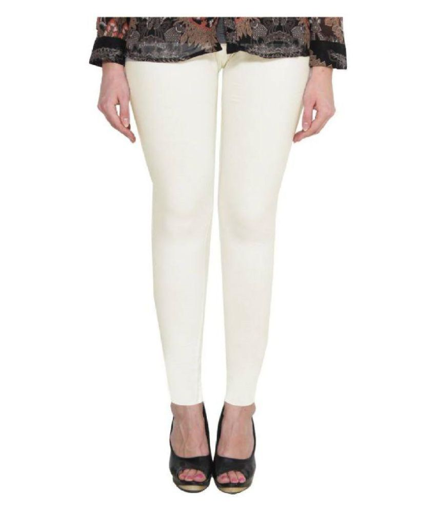 Aarzoo Cotton Lycra Jeggings - White
