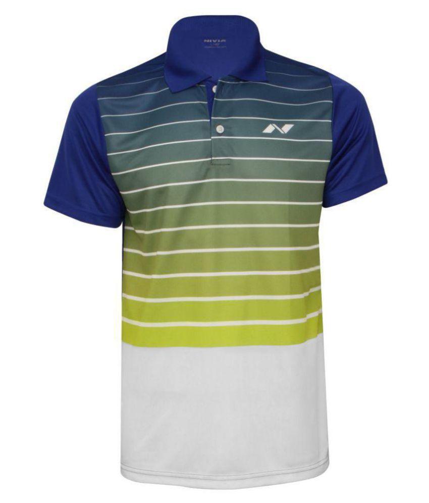 Nivia Blue Polyester Polo T-Shirt-2355S1