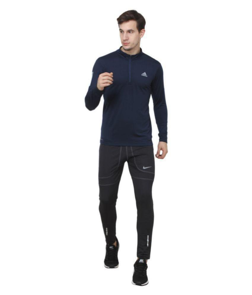 HUMAN CLOTHES Navy Polyester Lycra T-Shirt
