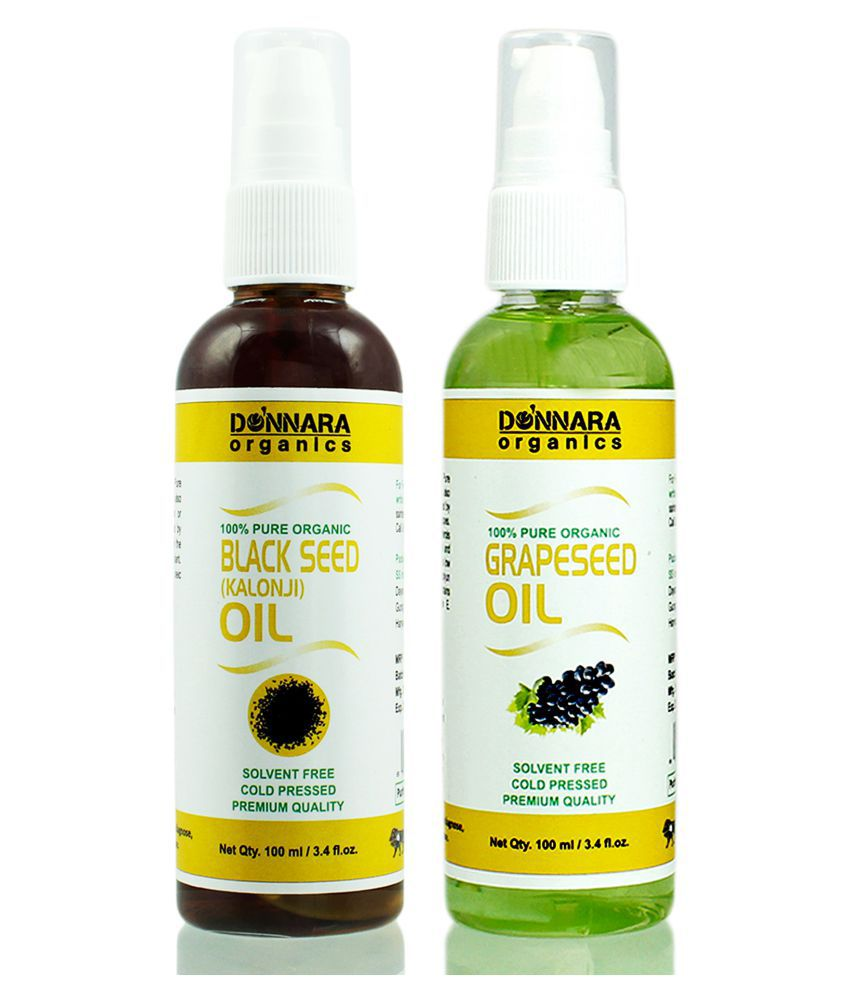 Donnara Organics 100% Pure Blackseed oil & Grapeseed oil 200 mL Pack of 2